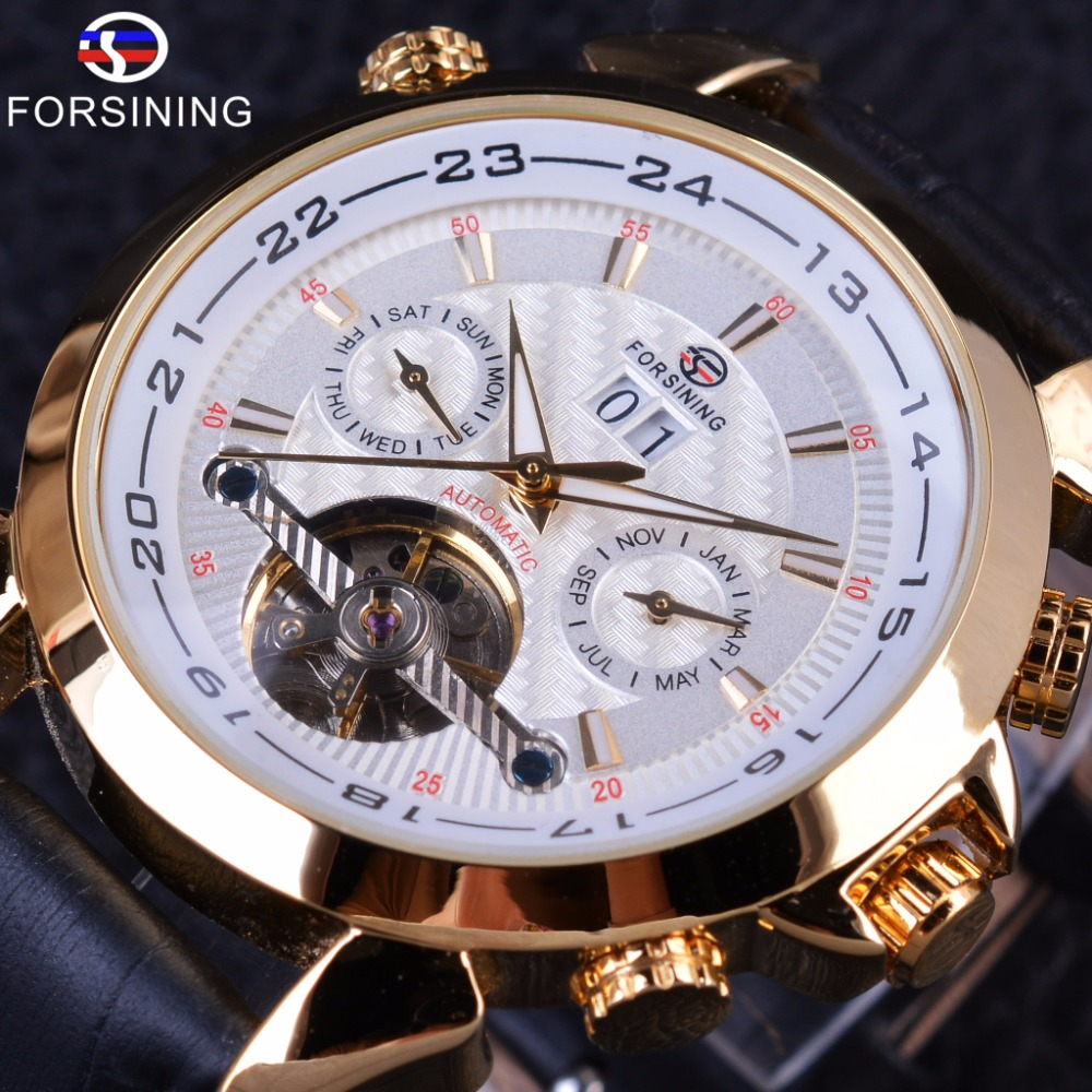 Forsining Weaving Tourbillion Design Genuine Leather Calendar Display Mens Mechanical Watches Top Brand Luxury Automatic Clock Online Shop Watches