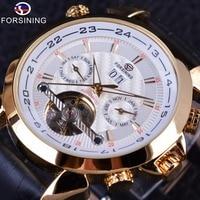 Forsining Weaving Tourbillion Design Genuine Leather Calendar Display Mens Mechanical Watches Top Brand Luxury Automatic Clock