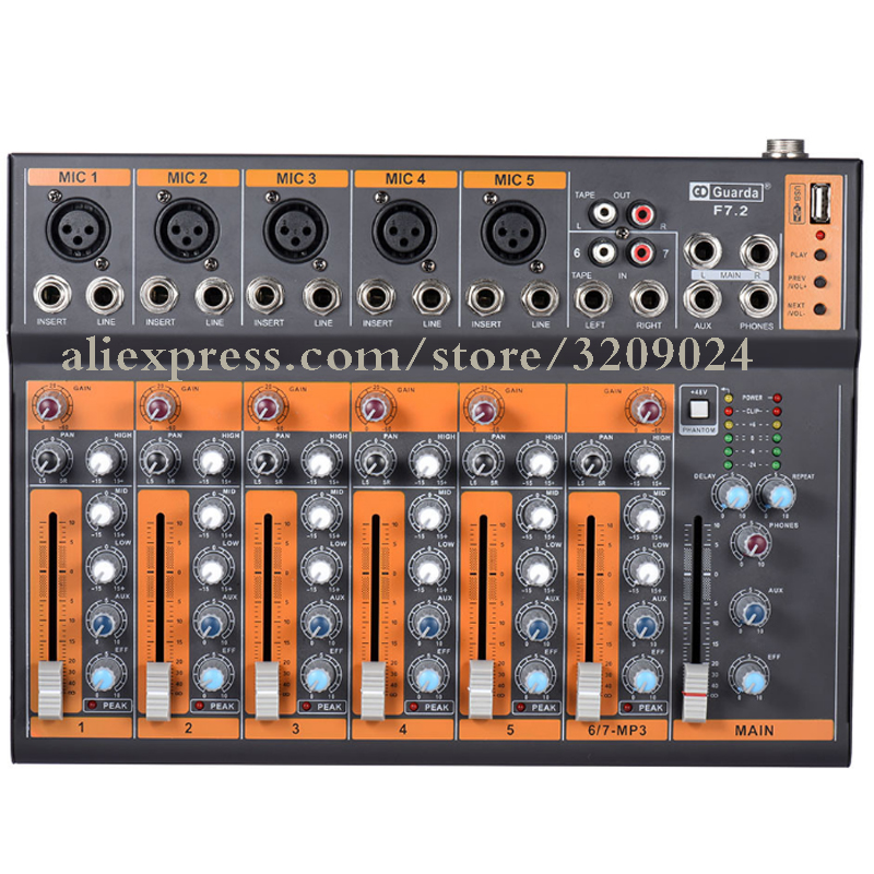 Professional Mixer 7channel USB phantom power family K song live stage equipment OEM