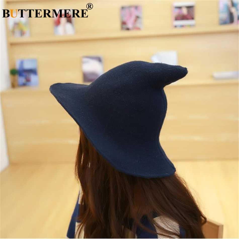 8c510829e7206 ... BUTTERMERE Adult Wizard Hat Wool Women Bucket Hat Knitting Witch Hat  Ladies Wide Brim Solid Autumn ...