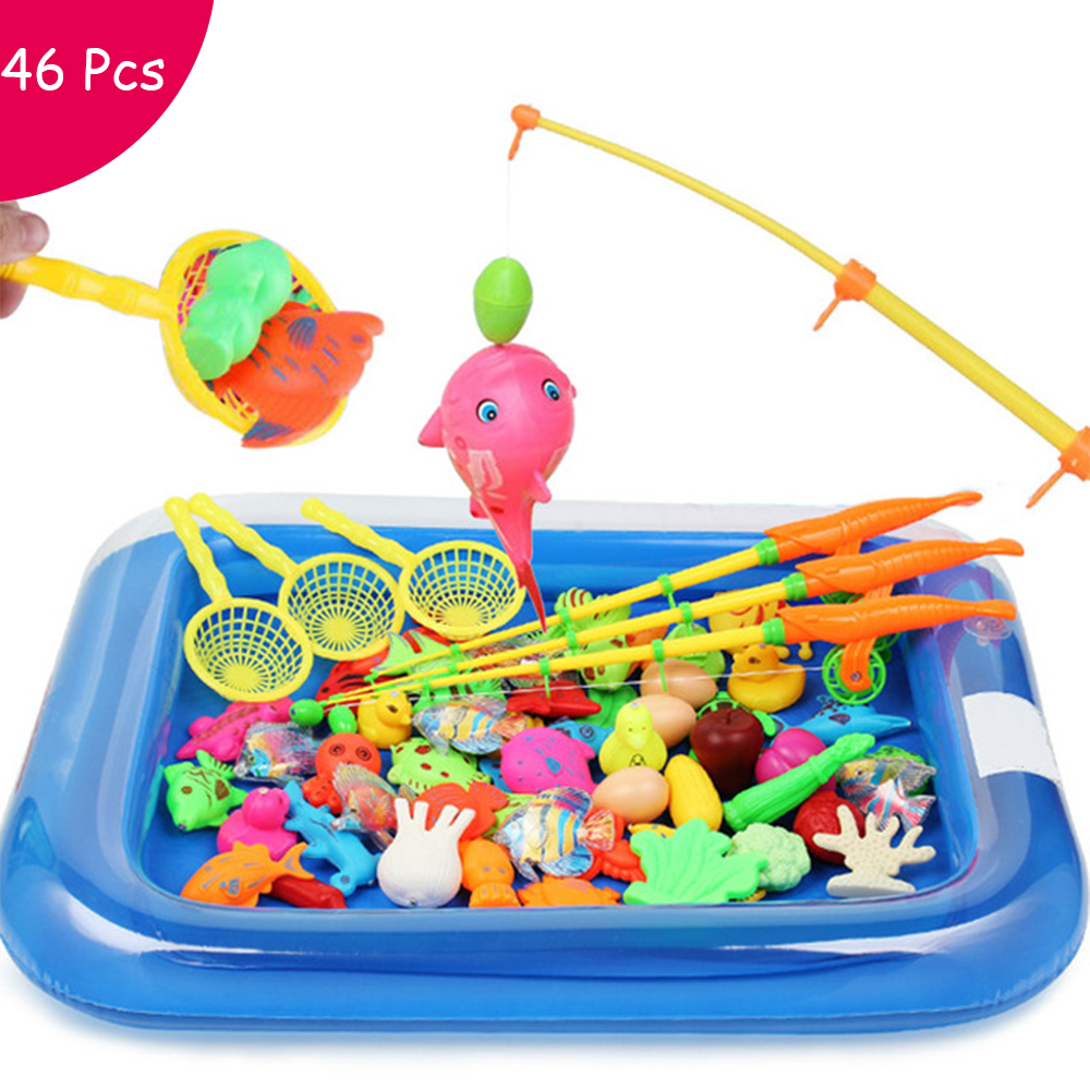 Children Fishing Toy Set 46 Pcs Suit Magnetic Play Water Baby Toys Fish Square Hot Gift For Kids Boy Girl Free Shipping