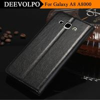 DEEVOLPO Luxury Genuine Leather Case For Samsung Galaxy A8 A8000 Flip Fashion Stand Leisure Style Cover