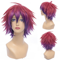 Anime No Game No life Sora Cosplay Wig Red Mixed Purple Short Synthetic Hair Cheap Heat Resistant Men Cos Wig