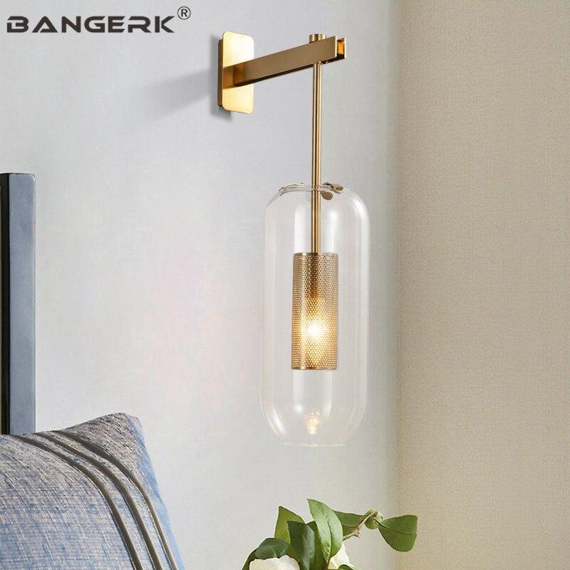 Estilo americano Moderno LEVOU Lâmpada de Parede Home Da Parede Arandela Luminárias de Cabeceira Vidro da lâmpada de Parede de Ferro Ouro Arte Decoração Iluminação Interior