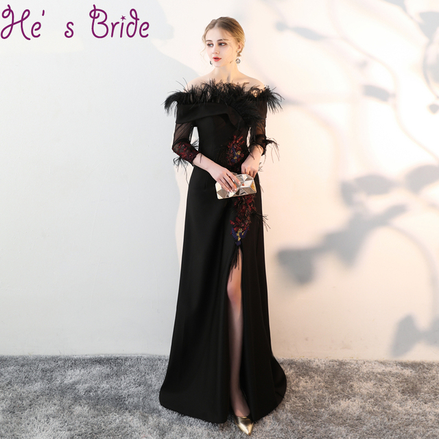 2cd1676e1eb Evening Dress Elegant Black Boat Neck 3 4 Sleeves Zipper A Line Sweep Train  Split Satin Lace Feather Sequines Party Prom Dress