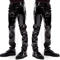 Plus Size Sexy High Shiny Faux Leather Punk Style Pants Specular Highlight Patent Leather Trousers Bar Club Dance Gay Men's Wear