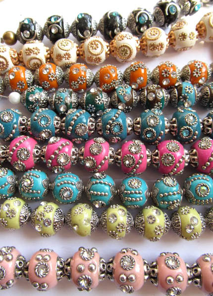 wholesale 100pcs 20mm Polymer clay & crystal ,Kashmiri Polymer Brass Round ball mixed jewelry beads polymer blends