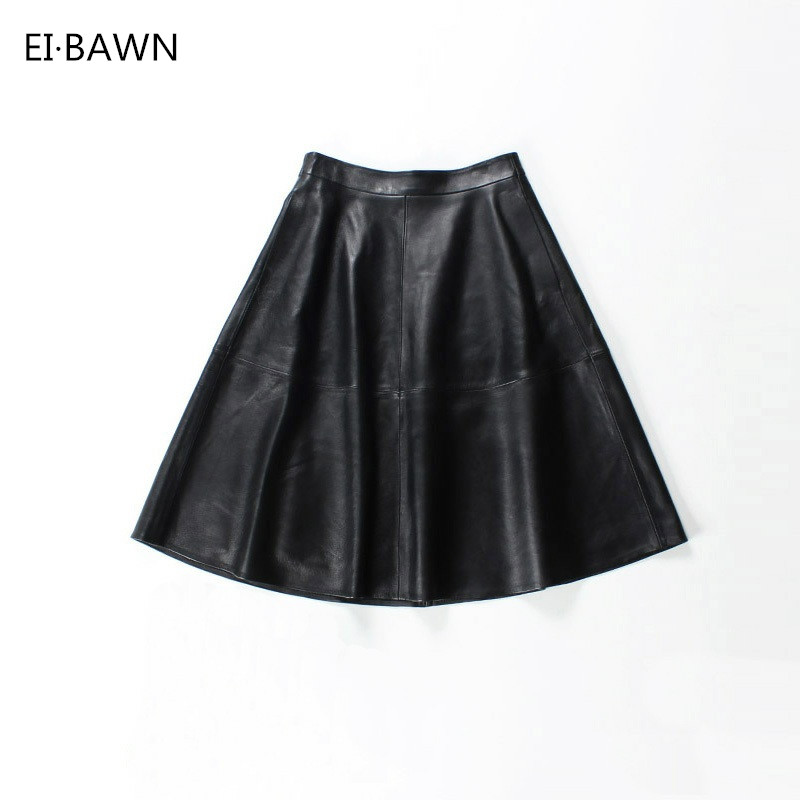 2018 Women Midi Leather Skirts Genuine Leather Black High Waist Korean Style Fashion Vintage Sheepskin High Quality A-line Skirt