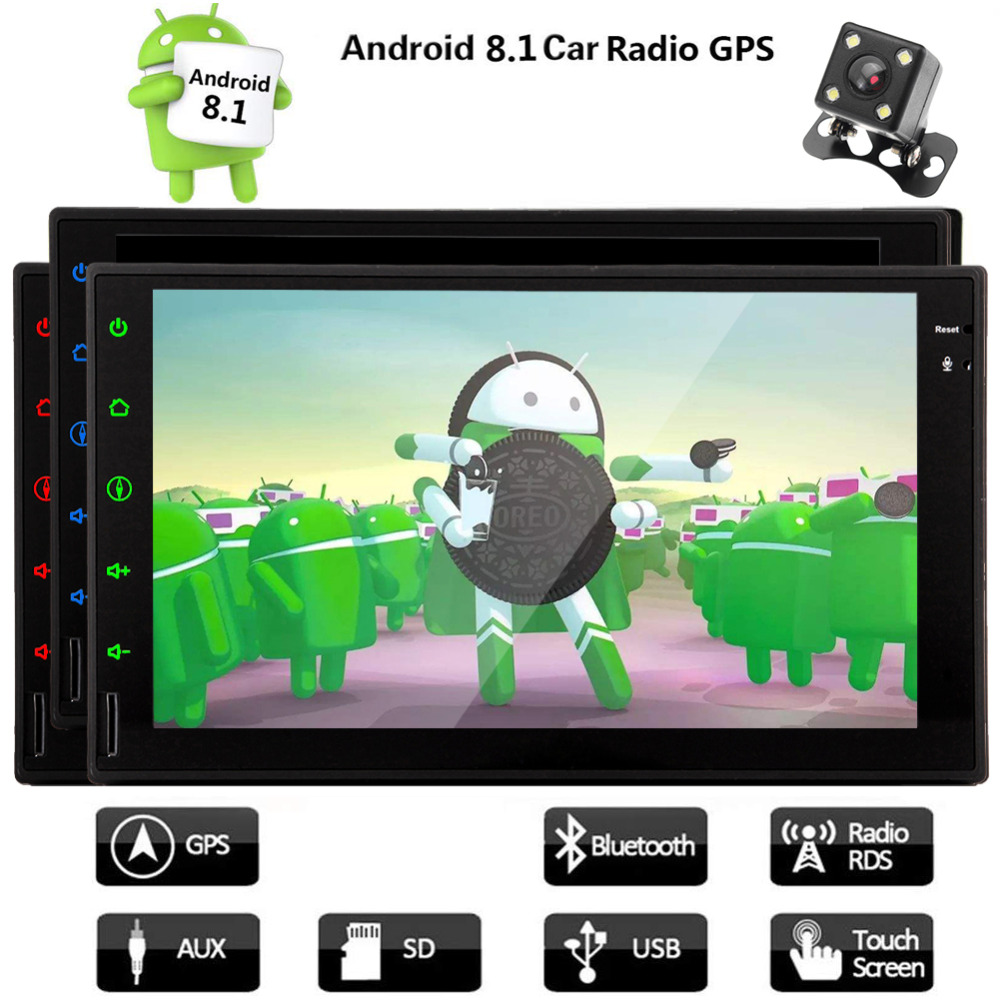 Android 8.1 Auto Car PC Radio Stereo Double 2 Din Head Unit with HD Touchscreen Support GPS Navigation Bluetooth AV Output WIFi