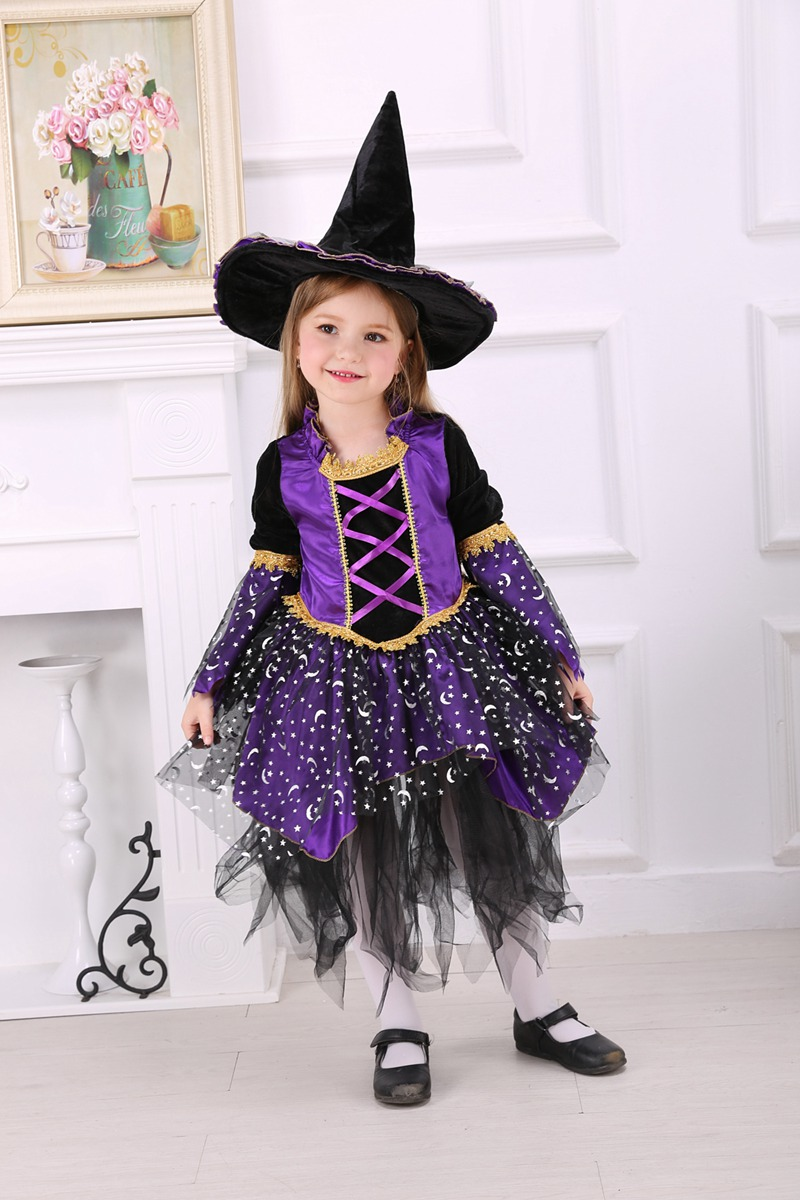 Purple Witch Costume Children Halloween Fancy Dress With Hat Girls Party Costume Clothing Bad Wick Costume Long Sleeve Children Shovel Dress Tutuchildren Tutu Aliexpress