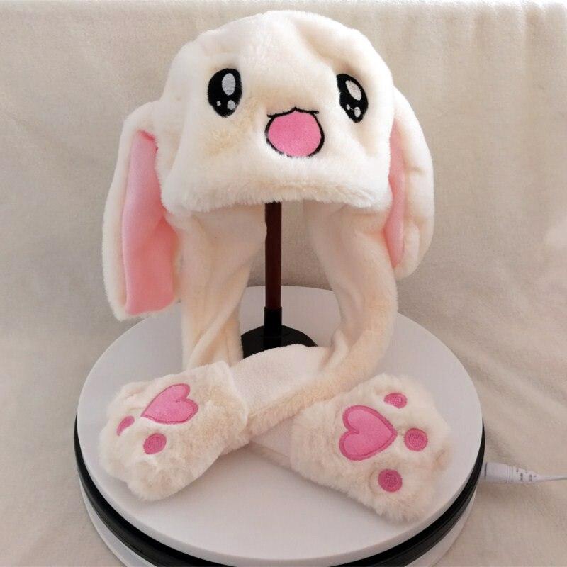 rabbit moving ears hat pinching long ear plush cap girls baby cute lovely gifts for fun or dancing