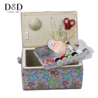 D&D Handmade Wood&Fabric Crafts Sewing Storage Basket with Sewing Accessories Organizer DIY Household Gift Box 27.5*17.5*14CM