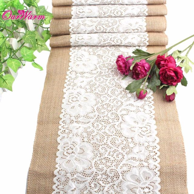 Online Shop 10Pcs Wedding Table Runners Vintage Natural Burlap Lace ...