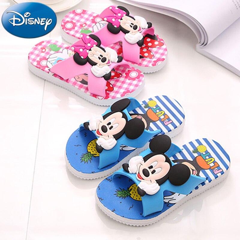 Boys Smart Disney Children Slippers For Girls Boys Minnie Summer Sandals Kids Flip Flop Home Bath Shoes Non-slip Beach Shoes Animal Slippers