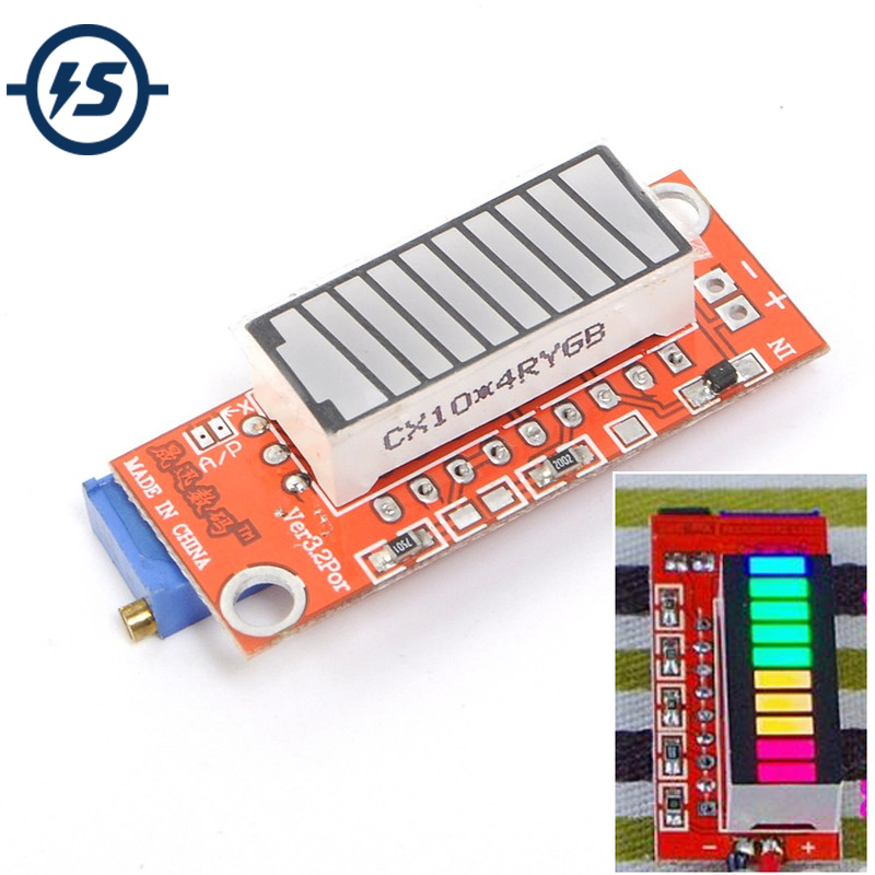 4-color Battery Capacity Indicator Module Colorful Battery Level Tester Indicator 10 LED Display Electricity Meter V3.2 Version
