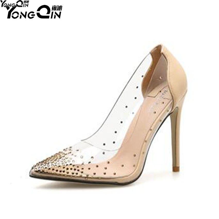 New transparent rhinestone pointed toe stiletto high heel women pumps shoes