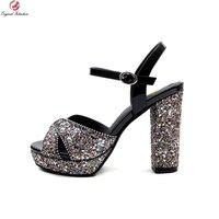 Original Intention Super Fashion Women Sandals Bling Glitter Square Heels Sandals Ladies Multi Colors Shoes Woman