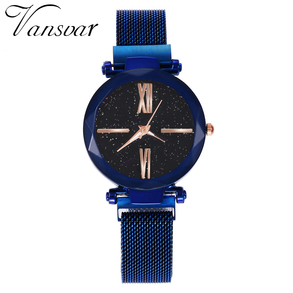 Vansvar Women Wrist Watch Quartz Stainless Steel Band Mesh Magnet Buckle Starry Sky Analog Ladies Watches Fashion Watch 2019Vansvar Women Wrist Watch Quartz Stainless Steel Band Mesh Magnet Buckle Starry Sky Analog Ladies Watches Fashion Watch 2019
