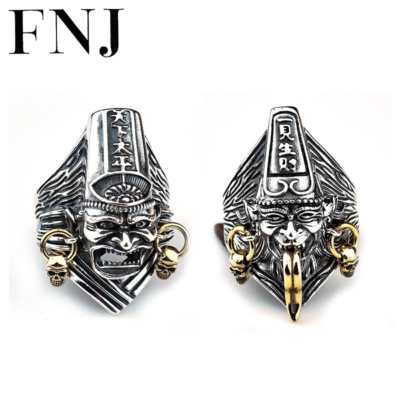 FNJ 925 Silver Punk Ring New Fashion China Skull Original S925 Sterling Silver Rings for Men
