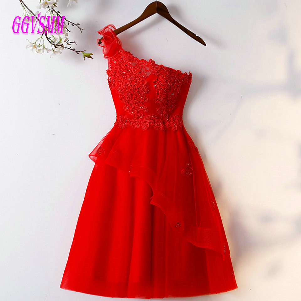 Fashion Red   Prom     Dresses   Short 2019 Party Gowns One Shoulder Tulle Appliques Beading Lace-Up Knee Length Women   Dresses   Evening