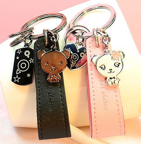 Bijoux de mode pu Bracelet En Cuir Petit ours Couples porte-clés porte-clés pour femmes Sac Pendentif porte-clés livraison gratuite