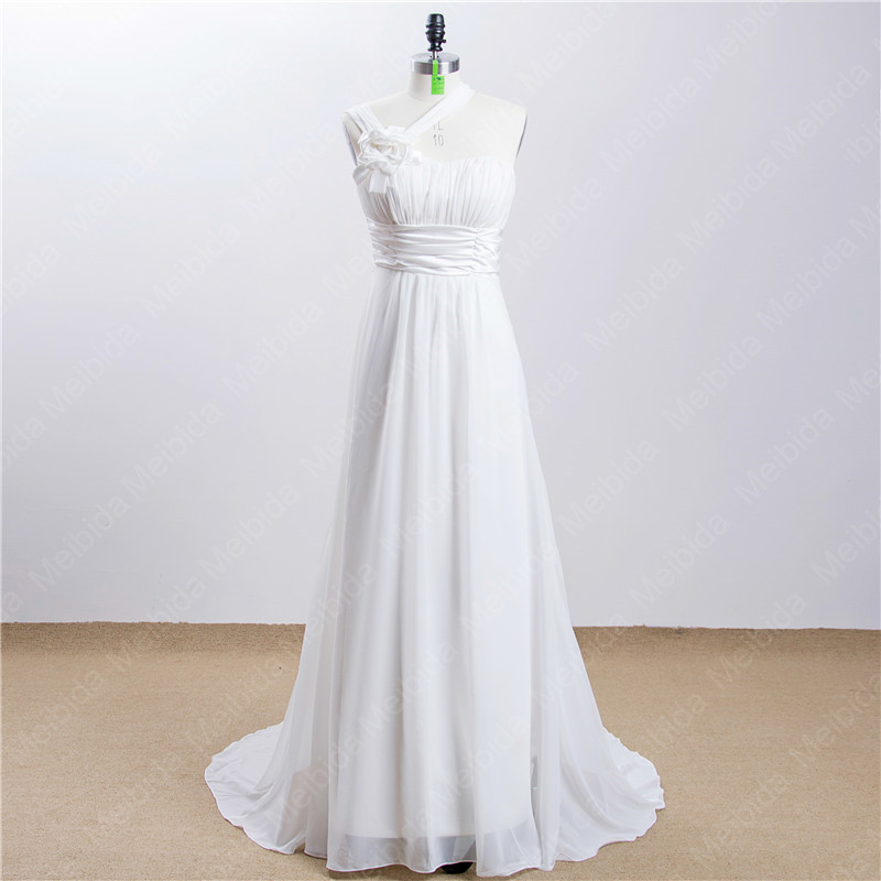 In Stock Wedding Dresses Cheap Price One Shoulder Chiffon