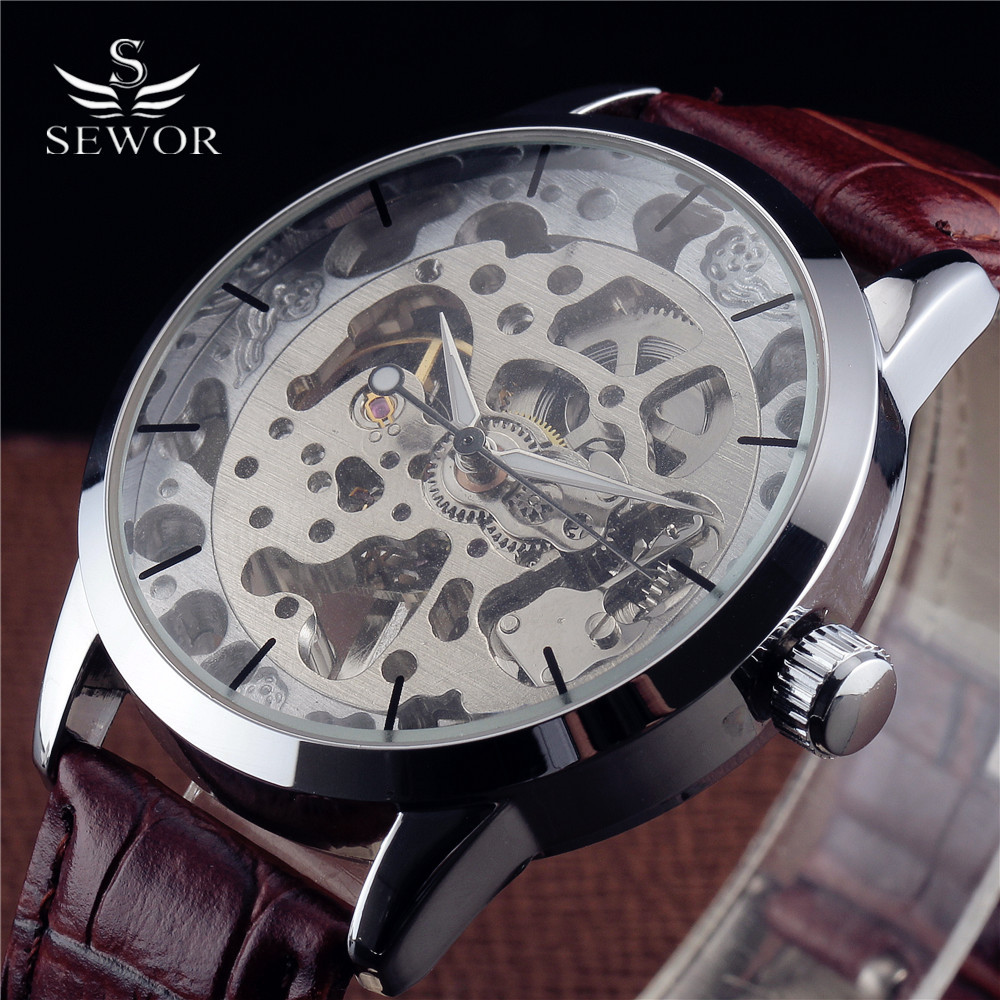 Fashion SEWOR Brand Skeleton Mechanical Watch Men Luxury Ultra-thin Dial Leather Band Casual Watches Men Sport Relogio Masculino t winner fashion women girl skeleton dial handind mechanical watch watches pu leather band wristwatches gift free ship
