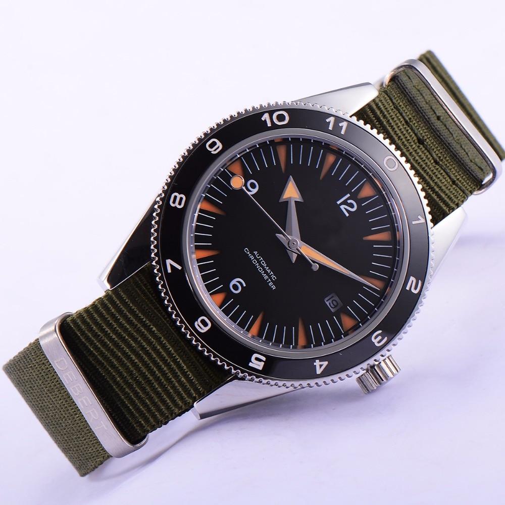 где купить 41mm debert black dial 21 jewels miyota 821A Automatic mens wrist Watch D01 по лучшей цене