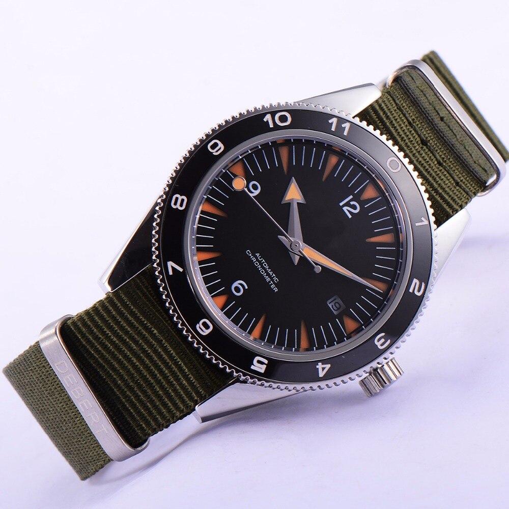 41mm debert black dial 21 jewels miyota 821A Automatic mens wrist font b Watch b font