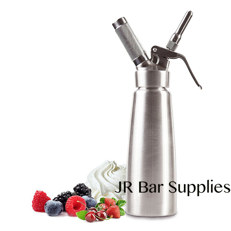 Military Grade Stainless Steel 1 pint 500ml Whipped Cream Dispenser Cream Whipper with 3 Decorating Nozzles