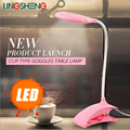 LINGSHENG 3w Lampara Mesa USB LED Desk Lamp Light Table Reading Lamp Flexional Stand Clip Eyes Lamp Touch Desk Lamp