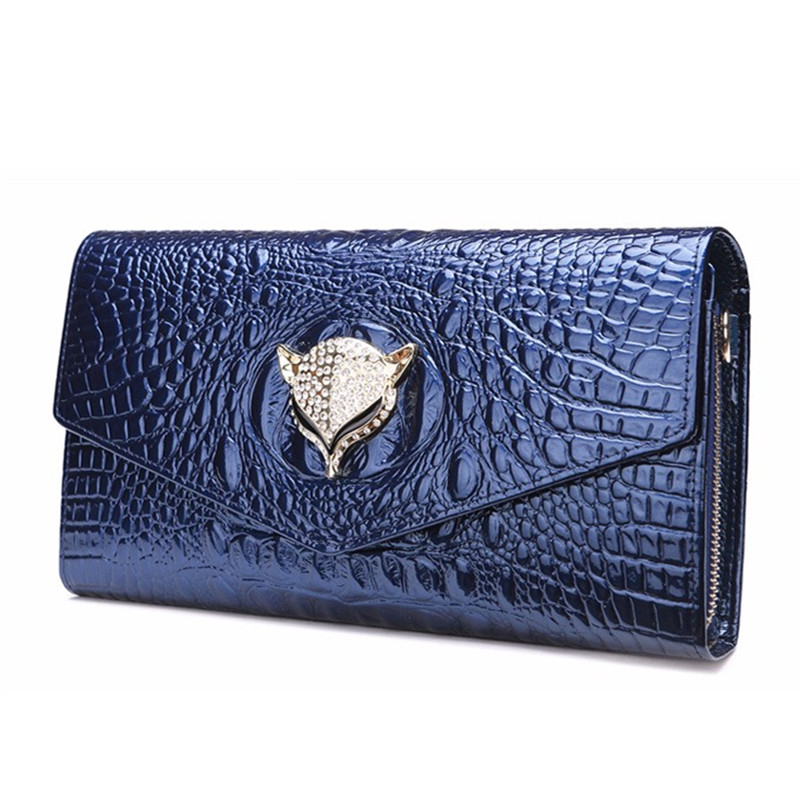 Fashion Women Shoulder Bags Messenger Bag Patent Leather  Alligator Chains Fox Clutch Purse Wallet Holder Handbag Evening Bags 2016 fashion famous brand handbag folding clutch purse evening party leather women shoulder messenger bag bb0808