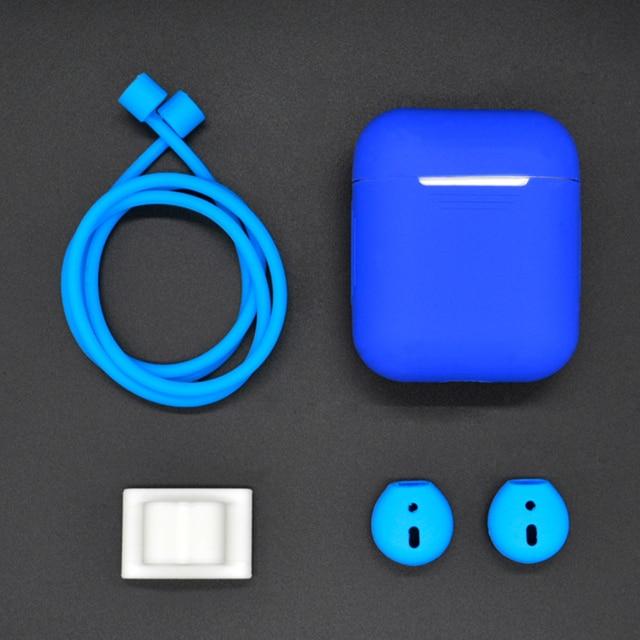 5 En 1 10 colores funda para auriculares Bluetooth auriculares inalámbricos Set para auriculares Airpods + Soporte para reloj con correa para el cuello con gancho de cubierta