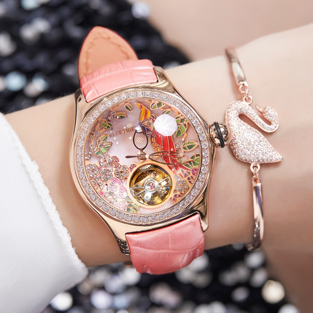 2020 Reef Tiger/RT Womens Luxury Fashion Watches Diamond Automatic Tourbillon Watch Leather Strap Watch Relogio Feminino RGA7105 4