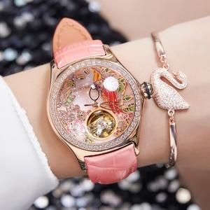 Image 4 - 2020 Reef Tiger/RT Womens Luxury Fashion Watches Diamond Automatic Tourbillon Watch Leather Strap Watch Relogio Feminino RGA7105