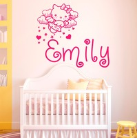 Kitty Cat Custom Personalized Name Sticker Baby Girl Bedroom Nursery Murals DIY Art Home Decoration Mural