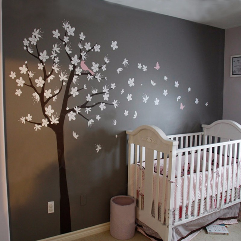 Cherry blossom tree wall decals contemporary large tree for Cherry blossom tree wall mural