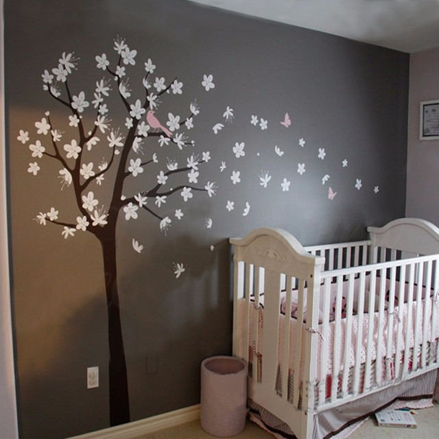 Cherry Blossom Tree Wall Decals Contemporary Large Tree With Birds  Butterflies Flowers Wall Stickers For Kids