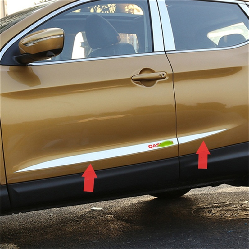 ABAIWAI Car Body Decoration Stickers For Nissan Qashqai Door Scuff Plates Protection Chrome Exteriors Car-Covers 2014 2015 2016