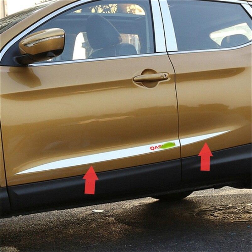 ABAIWAI Car Body Decoration Stickers For Nissan Qashqai Door Scuff Plates Protection Chrome Exteriors Car-Covers 2014 2015 2016 автомобильный коврик klever premium для nissan qashqai 2014
