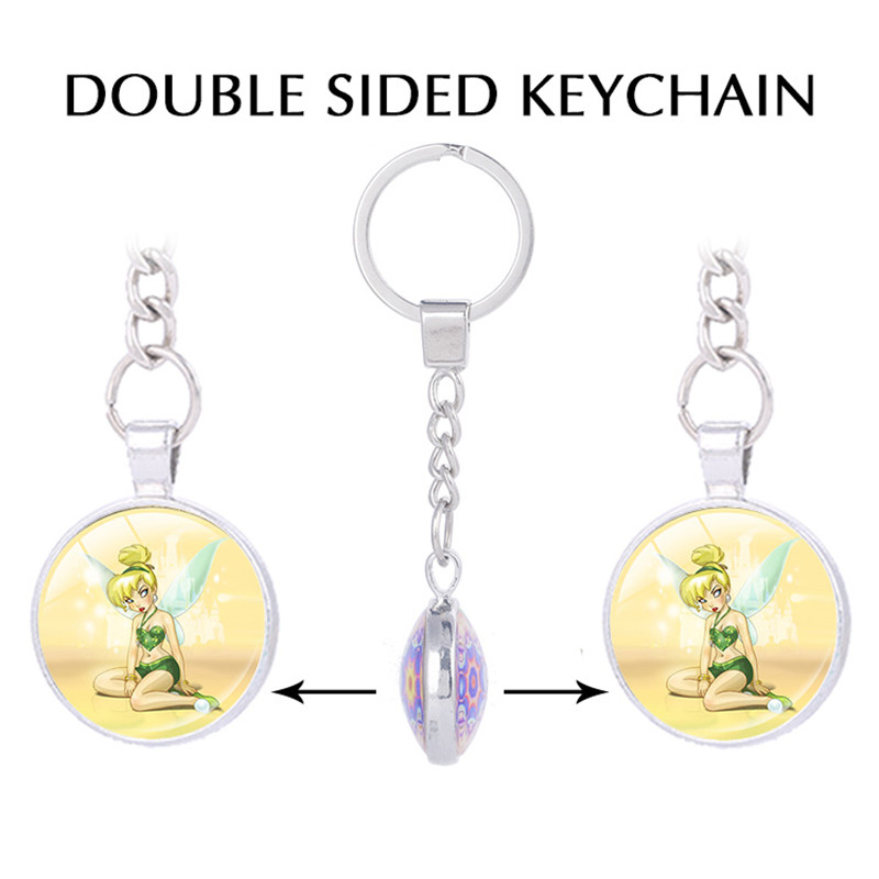 Fashion Peter Pan keychains Glass Cabochon Dome Double sided Pendant key chains Jewelry Man Fashion Pendant keychain for keys
