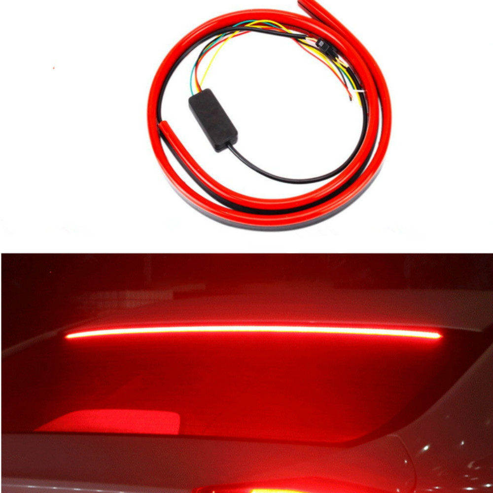 JURUS 100CM Red Flexible LED Car Additional Brake Light Interior Driving Mount Stop 12V Turn Signal Warning Lamp Car Accessories-in Decorative Lamp from Automobiles & Motorcycles