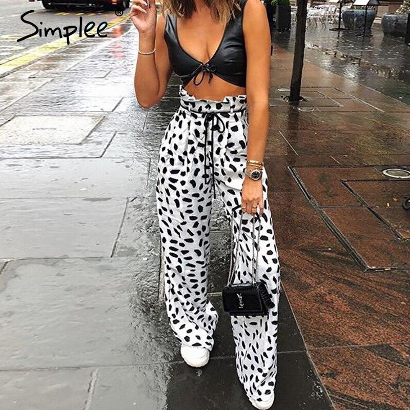 Simplee Casual patterns printed wide leg women pants capris High waist dot loose female trousers Streetwear ladies pants bottoms