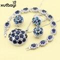 Conjuntos de Jóias azul Safira Sintética Nova Moda Sterling Silver Overlay Graciosos Anéis Colar Pulseira Brinco Para As Mulheres