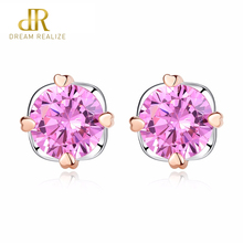 DR Pink Zircon Stone Crystal Small Earrings Stud Earrings Stud Genuine Sterling Silver 925 Women Jewelry Brand New Fashion new arrival cute 925 sterling silver wings zircon stone stud earrings for women fashion jewelry 2019