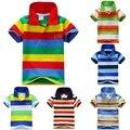Последним по уходу за детьми мальчик стенд воротник полосатые футболки свободного покроя топы дети футболку 1-7Y