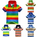 Newest Child Baby Boy Stand Collar Striped T-shirt Casual Tops Kids Tee Shirt 1-7Y