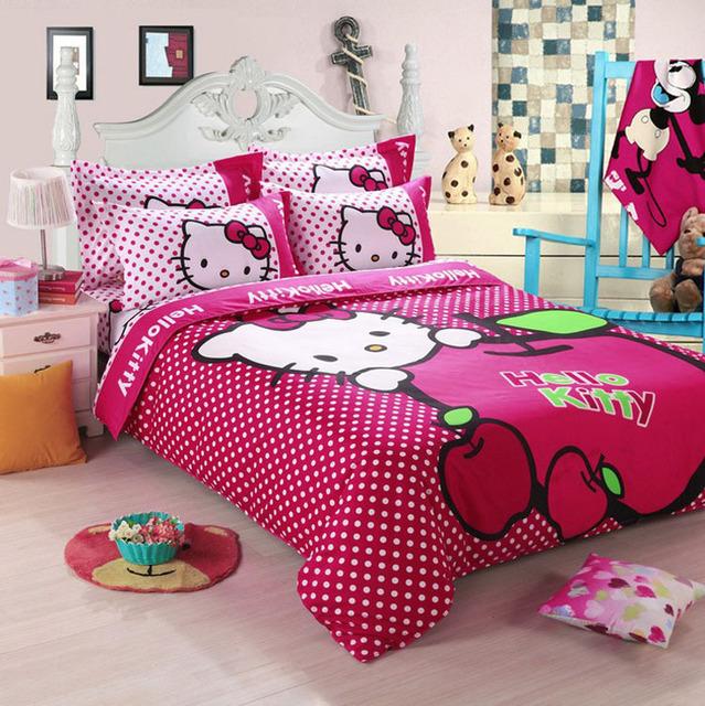 Envío gratuito patrón de dibujos animados infantil, Hello kitty juegos de cama incluye funda nórdica sábana funda de almohada
