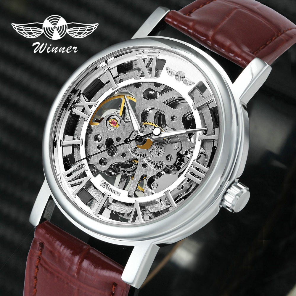 WINNER Official Unisex Men Watches Top Brand Luxury Mechanical Watch Leather Strap Skeleton Dial Roman Numerals For Lovers Gift