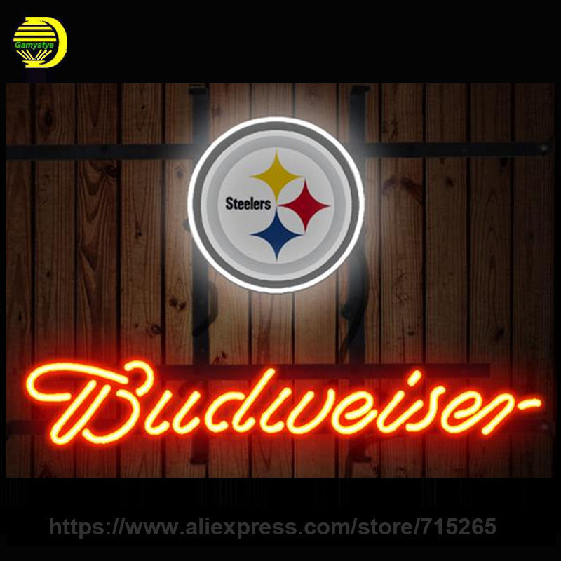 NEON SIGN For Budweiser Pittsburgh Steelers Cincinnati Bengals Boston Bruins Green Bay Packers Dallas Stars Miami Dolphins Eagle